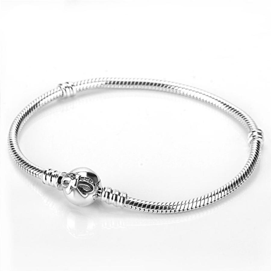 925 sterling silver sparkling bow clap bracelet fit. Black Bedroom Furniture Sets. Home Design Ideas