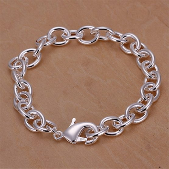 Hot S Silver Plated Bracelet For Women High Quality Fashion Jewelry Elegant Lovely Lady Men Charms Cute 925 H089