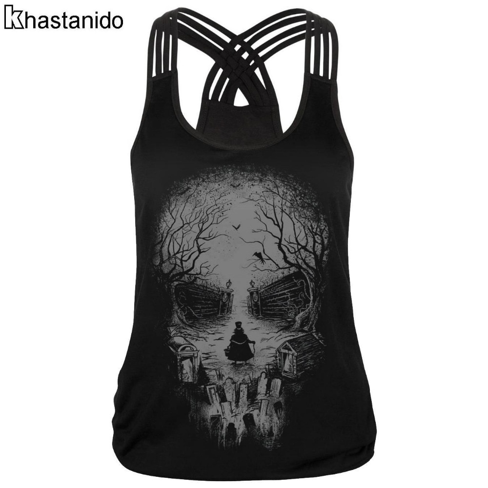 be9319ee148 Tank Top Women Sleeveless Skull 3d Printed Tees Satin Top Fitness Casual  Workout Tops Sexy Breathable Summer Vest Black Cami